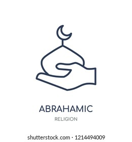 Abrahamic icon. Abrahamic linear symbol design from Religion collection. Simple outline element vector illustration on white background.