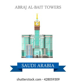 Abraj Al-Bait Towers in Mecca Saudi Arabia. Flat cartoon style historic sight showplace attraction web site vector illustration. World country city vacation travel sightseeing Asia Asian collection.