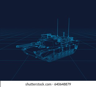 Abrams tank Vector wireframe, perspective 3d technology vector illustration.