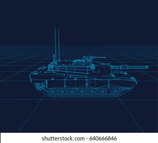 Abrams tank Vector wireframe, perspective 3d technology vector illustration