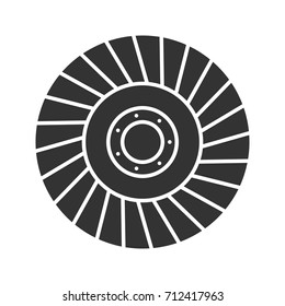 Abrasive flap wheel glyph icon. Silhouette symbol. Negative space. Vector isolated illustration