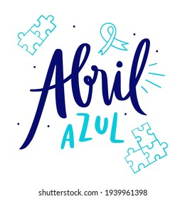 Abril Azul. blue april. awareness month about autism. Ribbon vector. puzzle draw.
