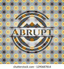 Abrupt arabic style badge. Arabesque decoration.