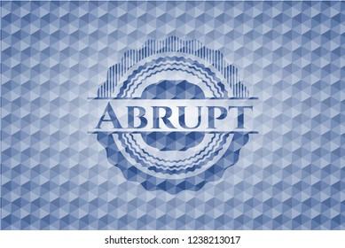 Abrupt blue emblem with geometric background.