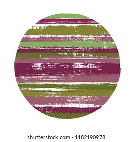 Abrupt circle vector geometric shape with stripes texture of paint horizontal lines. Old paint texture disk. Emblem round shape logotype circle with grunge stripes background.