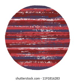 Abrupt circle vector geometric shape with striped texture of paint horizontal lines. Old paint texture disc. Stamp round shape circle logo element with grunge background of stripes.