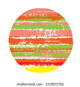 Abrupt circle vector geometric shape with stripes texture of ink horizontal lines. Disc banner with old paint texture. Emblem round shape circle logo element with grunge stripes background.