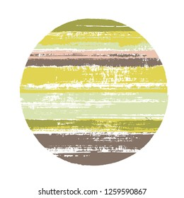Abrupt circle vector geometric shape with stripes texture of paint horizontal lines. Disk banner with old paint texture. Label round shape logotype circle with grunge stripes background.