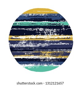Abrupt circle vector geometric shape with stripes texture of paint horizontal lines. Planet concept with old paint texture. Badge round shape logotype circle with grunge stripes background.
