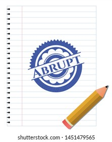 Abrupt drawn with pen strokes. Blue ink. Vector Illustration. Detailed.