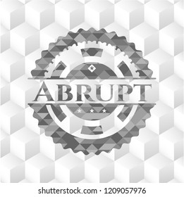 Abrupt grey badge with geometric cube white background