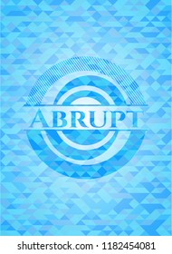 Abrupt light blue emblem with mosaic background