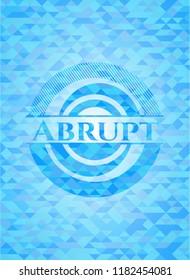 Abrupt light blue emblem with mosaic background