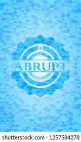 Abrupt light blue emblem. Mosaic background
