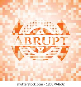 Abrupt orange tile background illustration. Square geometric mosaic seamless pattern with emblem inside.