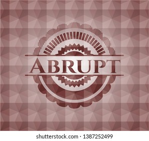 Abrupt red badge with geometric pattern. Seamless.