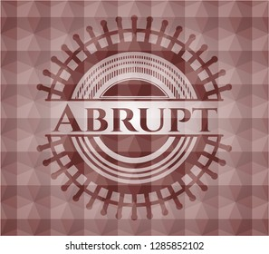 Abrupt red seamless emblem or badge with abstract geometric polygonal pattern background.
