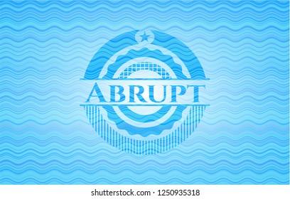 Abrupt sky blue water wave badge.