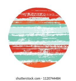 Abrupt teal red circle vector geometric shape with stripes texture of ink horizontal lines. Planet concept with old paint texture. Stamp round shape logotype circle with grunge stripes background.