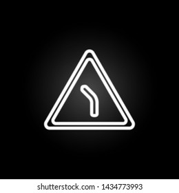 abrupt turn neon icon. Elements of road sign set. Simple icon for websites, web design, mobile app, info graphics