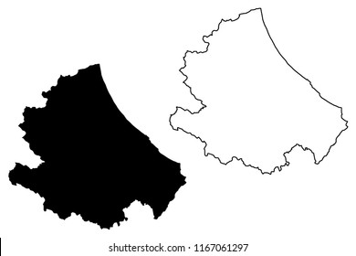 Abruzzo (Region of Italy) map vector illustration, scribble sketch Abruzzo map