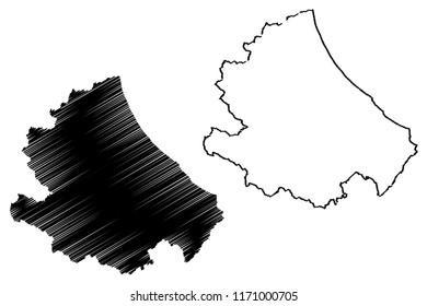 Abruzzo (Region of Italy) map vector illustration, scribble sketch Abruzzo map