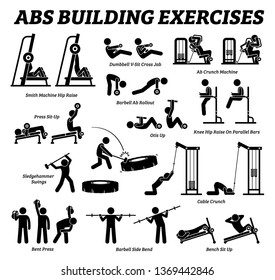 Abs and abdomen building exercise and muscle building stick figure pictograms. Set of weight training reps workout for abs and abdominal muscles by gym machine tools with instructions and steps.