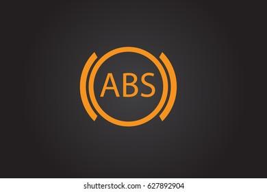 ABS warning sign. Car dashboard icon. Flat vector stock illustration