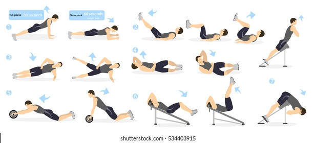 Abs workout for men. Man in sport outfit doing abs exercises in gym. All kinds of abdominal training.