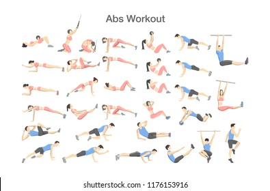ABS workout for men and women. Sport exercise for perfect abs. Fit body and healthy lifestyle. Muscle training. Isolated vector illustration
