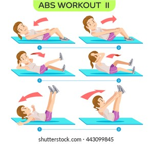 Abs Workout no.2. Six pack workout at home. Easy exercise Program. Cartoon character of beauty women concept.