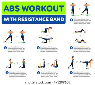 Abs workout WITH RESISTANCE BAND. Fitness, Aerobic and workout exercise in gym. Vector set of workout icons in flat style isolated on white background.