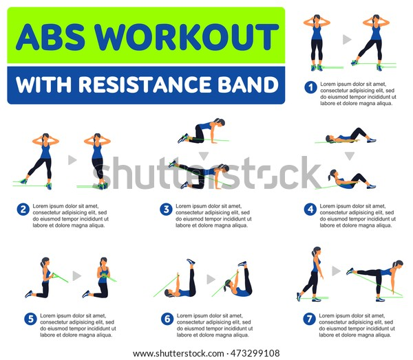 Abs Workout Resistance Band Fitness Aerobic Stock Vector Royalty