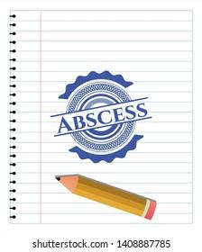 Abscess emblem draw with pen effect. Blue ink. Vector Illustration. Detailed.