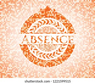 Absence abstract orange mosaic emblem with background