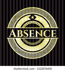 Absence gold badge. Vector Illustration. Detailed.