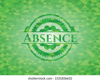 Absence green emblem with mosaic background. Vector Illustration. Detailed.