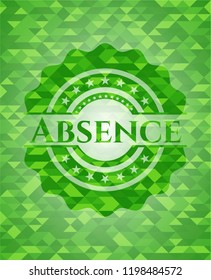 Absence green emblem with triangle mosaic background