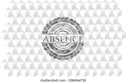 Absence grey emblem with geometric cube white background