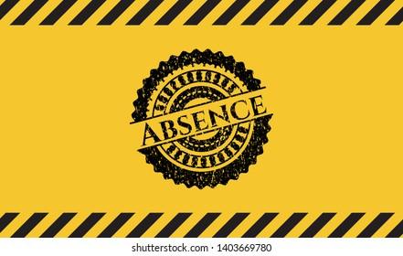 Absence grunge warning sign emblem. Vector Illustration. Detailed.