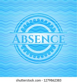 Absence light blue water badge background.