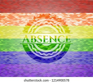 Absence on mosaic background with the colors of the LGBT flag