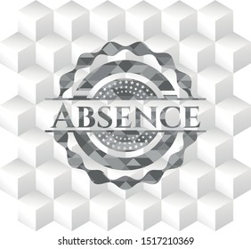 Absence realistic grey emblem with geometric cube white background