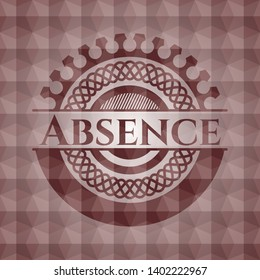 Absence red emblem with geometric pattern. Seamless.