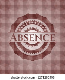 Absence red seamless polygonal badge.
