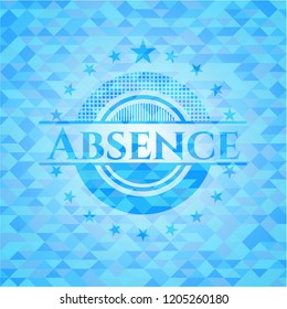 Absence sky blue emblem with mosaic ecological style background