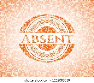 Absent abstract emblem, orange mosaic background