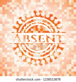 Absent abstract orange mosaic emblem with background