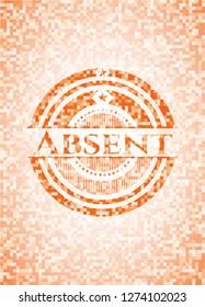 Absent abstract orange mosaic emblem