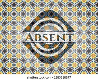 Absent arabesque badge. arabic decoration.